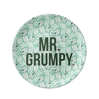 Mr Grumpy | Green Name and Character Toss Pattern Porcelain Plate