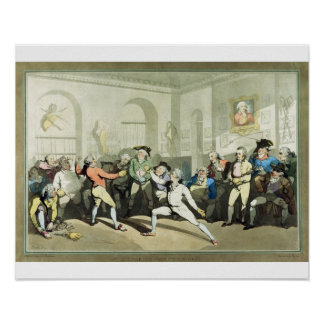 Mr H Angelo's Fencing Academy, engraved by Charles Print