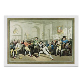 Mr H Angelo's Fencing Academy, engraved by Charles Poster