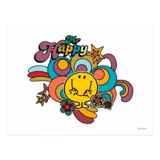 Mr. Happy | Colorful Swirls & Stars Postcard