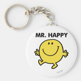 Mr. Happy | Dancing & Smiling Basic Round Button Key Ring
