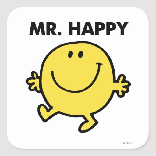 Mr. Happy | Dancing & Smiling Square Sticker