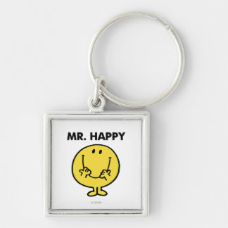 Mr. Happy | Giant Smiley Face Silver-Colored Square Key Ring