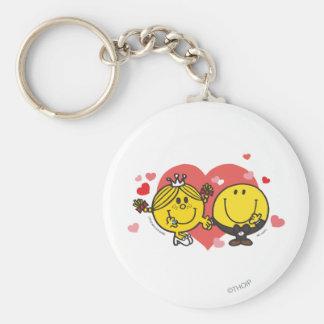 Mr. Happy & Little Miss Sunshine Wedding Basic Round Button Keychain