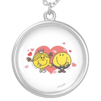Mr. Happy & Little Miss Sunshine Wedding Round Pendant Necklace