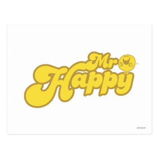 Mr Happy Logo 4 Postcard