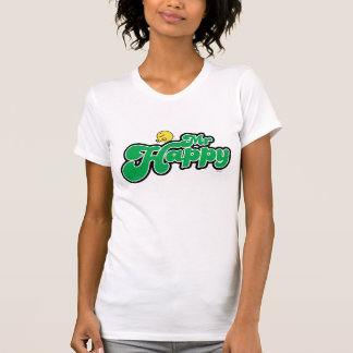 Mr. Happy Sliding Down Green Lettering T Shirts