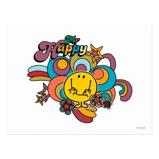 Mr Happy Swirl Color Post Cards