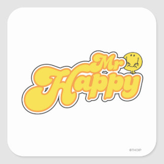 Mr. Happy | Yellow Lettering Square Sticker