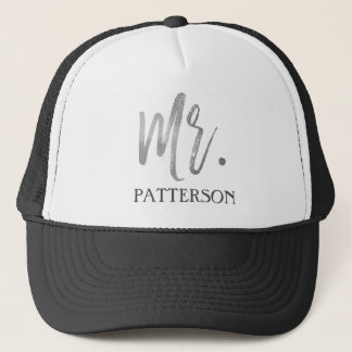 Mr. Last Name Silver Foil and White Trucker Hat