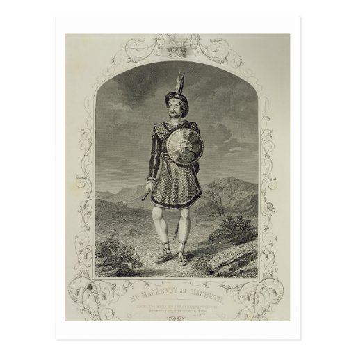 Mr Macready as Macbeth, Act I Scene 3, in the play Post Cards
