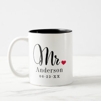 Mr. Married Name | Wedding Gift Two-Tone Coffee Mug