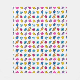Mr Men & Little Miss | Dancing Neon Pattern Fleece Blanket
