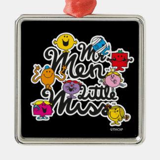 Mr. Men Little Miss   Group Logo Silver-Colored Square Decoration