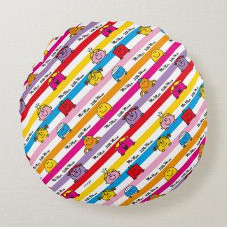 Mr Men & Little Miss | Rainbow Stripes Pattern Round Cushion