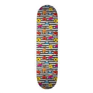 Mr Men & Little Miss | Stripes Pattern Custom Skateboard