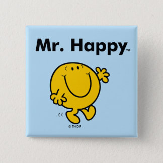 Mr. Men | Mr. Happy Is Always Happy 15 Cm Square Badge