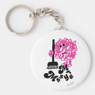 Mr. Messy | Broom & Name Basic Round Button Key Ring