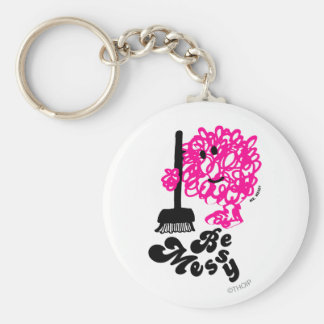 Mr. Messy Cleaning Up Basic Round Button Key Ring
