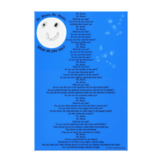 "Mr. Moon, Mr. Moon Fun Children's Poem 32"" x 48"" Canvas Print"