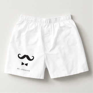 Mr. Moustache Bow Tie Stylish Classy Wedding Gift Boxers