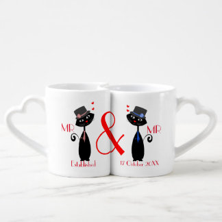 Mr & Mr Gay Couples Personalized Wedding Gift Coffee Mug Set