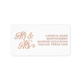 Mr & Mr Rose Gold Address Label