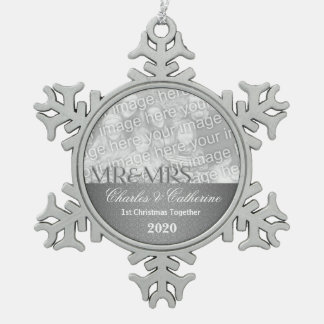 Mr. & Mrs. 1st Christmas | Silver Photo Ornament