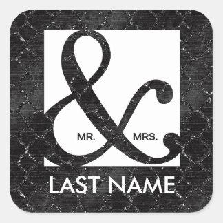 Mr. & Mrs. Ampersand Black Glitter Sticker