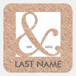 Mr. & Mrs. Ampersand Rose Gold Foil Sticker