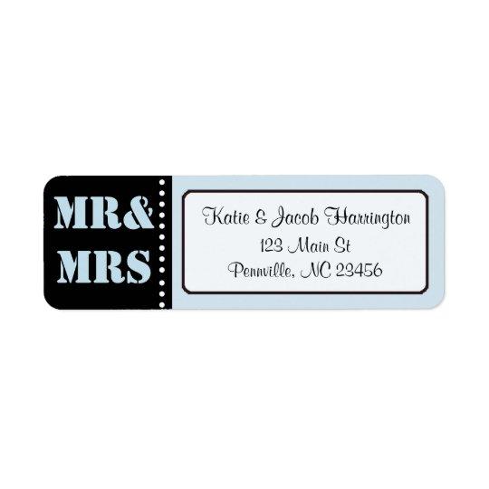 Mr & Mrs Black and Blue Return Address Labels
