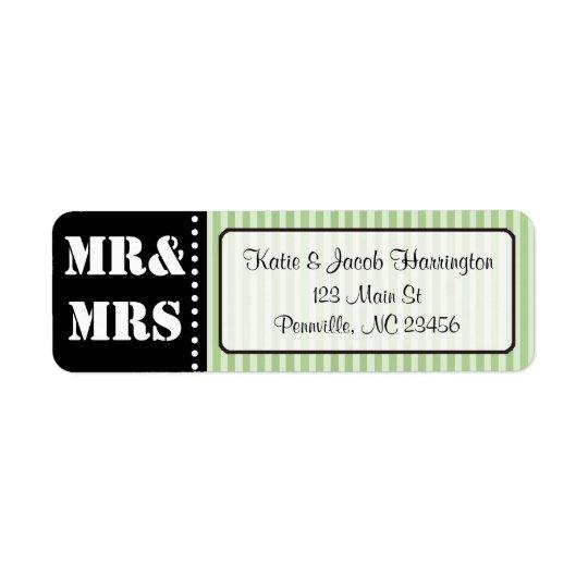 Mr & Mrs Black and Green Return Address Labels