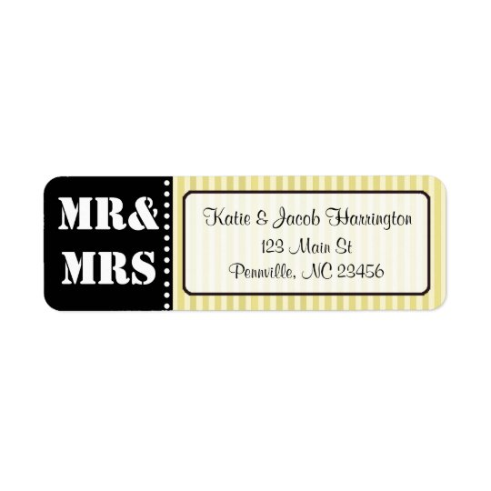 Mr & Mrs Black and Yellow Return Address Labels