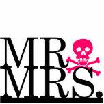 Mr & Mrs Black & Pink Skull Cake Topper