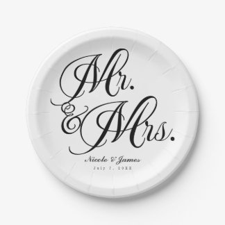 Mr. & Mrs. Black White Wedding Engagement Party Paper Plate