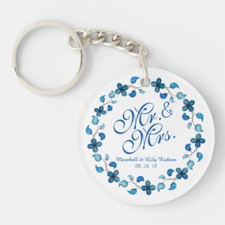 Mr. & Mrs. Blue Watercolor Floral Wedding Keychain