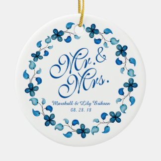 Mr. & Mrs. Blue Watercolor Floral Wedding Ornament