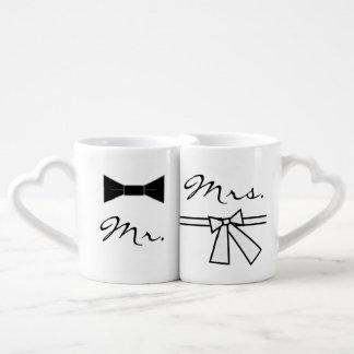 Mr. & Mrs. Bow Tie & Bow Coffee Mug Set