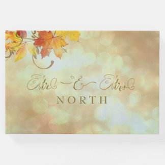 Mr & Mrs Calligraphy Autumn Leaves Gold AWLa Guest Book