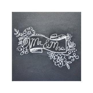 mr & mrs chalkboard art canvas