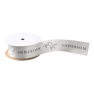 Mr & Mrs Classic Script Calligraphy Name Wedding Satin Ribbon