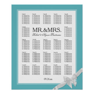 Mr. & Mrs. Color Select with Bow Seating Chart