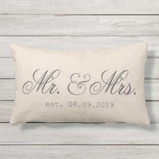 Mr.&Mrs. Cotton Fabric Textured Elegant Lumbar Cushion