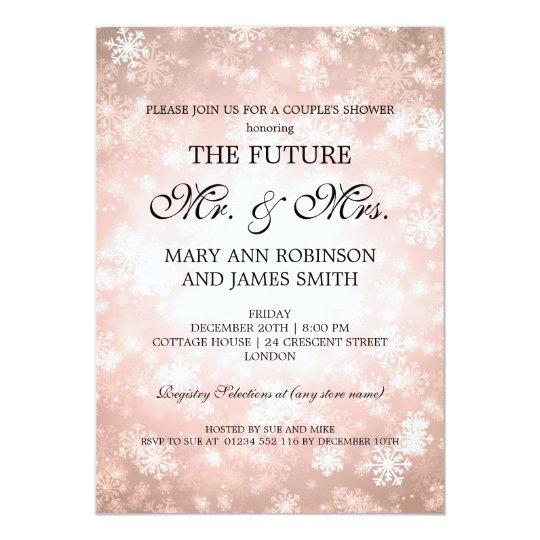 Mr Mrs Couples Shower Copper Winter Wonderland Card