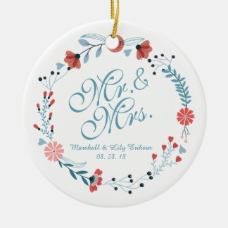 Mr. & Mrs. Cute Floral Wreath Wedding Ornament