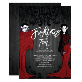 Mr & Mrs Dracula Costume Halloween Party Card