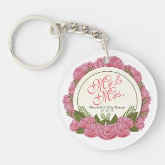 Mr. & Mrs. Elegant Floral Frame Wedding Keychain