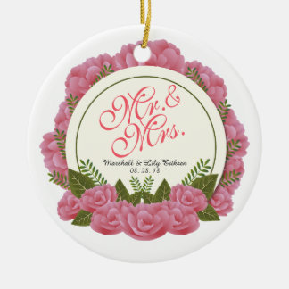 Mr. & Mrs. Elegant Floral Frame Wedding Ornament
