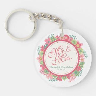 Mr. & Mrs. Elegant Floral Wedding Keychain