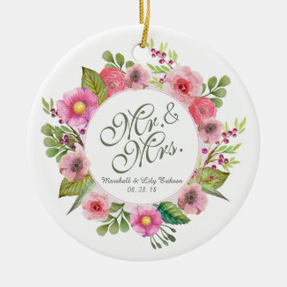 Mr. & Mrs. Elegant Floral Wedding Ornament
